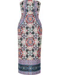 Temperley London Merida Quilted Printed Silk-blend Chiffon Dress - Lyst