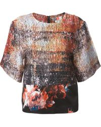 MSGM Floral Print Panelled Top - Lyst