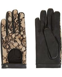 BCBGMAXAZRIA - Leather And Lace Gloves - Lyst