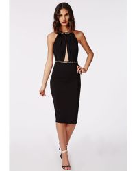 Missguided Ailsa Crepe High Neck Chain Midi Dress Black - Lyst
