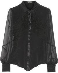 Zac Posen Lace and Chiffonpaneled Cady Blouse - Lyst