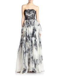 Notte by Marchesa Strapless Lace Ruffled Gown - Lyst