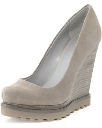 Luxury Rebel Syri Suede Stacked Wedge Alloy - Lyst