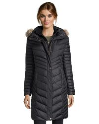 Marc New York | Black Quilted 'kendall' Fur Trim Hooded Down Jacket | Lyst