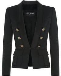 Balmain Satin Lapel Wool Jacket - Lyst