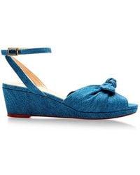 Charlotte Olympia Alexa Denim Wedge Sandals - Lyst