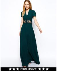 Jarlo Kelly Maxi Dress With Cap Sleeve And Lace Insert - Lyst