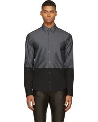 Costume National Black And Grey Colorblocked Shirt - Lyst