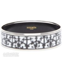 Hermes Preowned Black and White Wide Gm Bracelet - Lyst