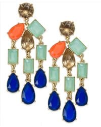 Kate Spade Goldtone Multicolor Epoxy Stone Statement Drop Earrings - Lyst