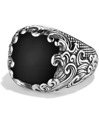 David Yurman Waves Signet Ring with Black Onyx - Lyst