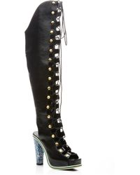 Rodarte - Black Embossed Over The Knee Lace Up Boot - Lyst