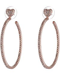 Betsey Johnson Hoop Crystal Heart Gold Medium Hoop Earrings - Lyst