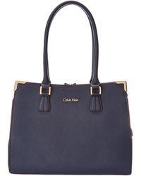 Calvin Klein On My Corner Saffiano Leather Satchel - Lyst