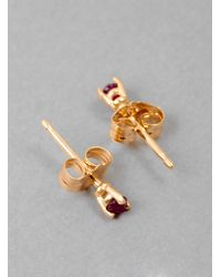 Blanca Monros Gomez - Gold Tiny Ruby Stud Earring - Lyst