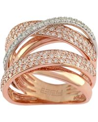 Effy - Diamond And 14k Rose And White Gold Ring, 1.57 Tcw - Lyst