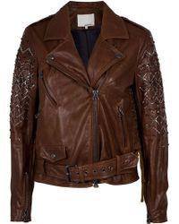 3.1 Phillip Lim Beaded Rhinestone Motorcycle Jacket - Lyst