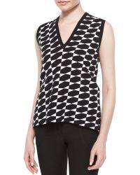 Derek Lam Geometric Check Pattern Sweater Vest - Lyst