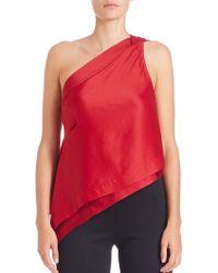 Donna Karan New York | Satin One-shoulder Flutter Top | Lyst
