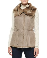 Alberto Makali Sueded-fabric Vest with Faux-fur Collar - Lyst