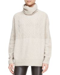 The Row Carrington Cableknit Turtleneck Sweater - Lyst