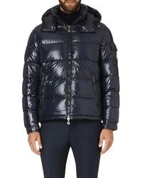 Moncler Quilted Hooded Jacket Navy - Lyst