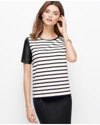 Ann Taylor Faux Leather Sleeved Striped Top - Lyst