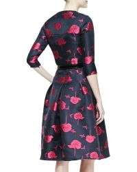 Carolina Herrera Embroidered Fullskirt Buttonup Dress - Lyst