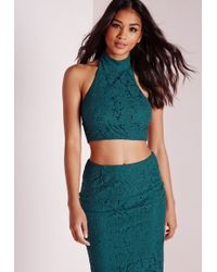 Missguided - Lace Halterneck Top Teal - Lyst