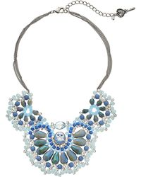 Betsey Johnson Lady Lock Multi Bead Frontal Necklace blue - Lyst