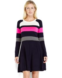 Eliza J Navy Color Block Sweater Dress - Lyst