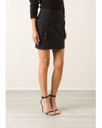 Balmain Black High Waist Military Skirt - Lyst