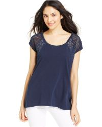 DKNY Short-Sleeve Lace And Mesh Top - Lyst