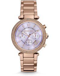 Michael Kors Parker Glitz Rose Goldtone Stainless Steel Bracelet Watch - Lyst