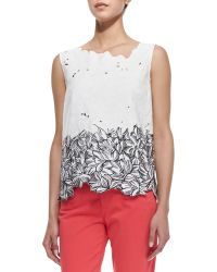 Elie Tahari Roony Sleeveless Outlined Lace Top Black White - Lyst