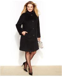 Jones New York Plus Size Single-Breasted Walker Coat - Lyst