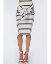 Missguided Tie Waist Stripe Midi Skirt White - Lyst