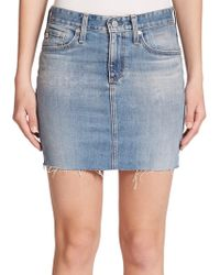 AG Adriano Goldschmied The Sandy Frayed Denim Mini Skirt blue - Lyst