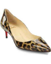 Christian Louboutin Rocket Leopard Print Patent Leather Point-Toe Pumps - Lyst