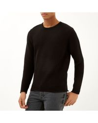 River Island Black Ribbed Long Sleeve Sweater - Lyst