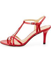 Stuart Weitzman Yvette Strappy Patent Sandal - Lyst
