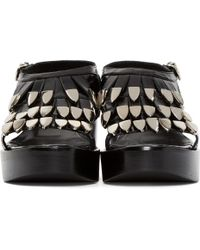 Toga Pulla - Black Fringed Leather Sandals - Lyst