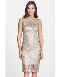 Tadashi Shoji Sequin Illusion Lace Dress - Lyst