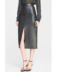 Jason Wu Front Slit Lambskin Leather Skirt - Lyst