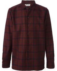 Saint Laurent Red Plaid Shirt - Lyst