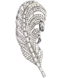 Oscar de la Renta Swarovski Crystal Feather Brooch - Lyst