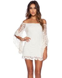 Jen's Pirate Booty Pixie Bardot Mini Dress beige - Lyst