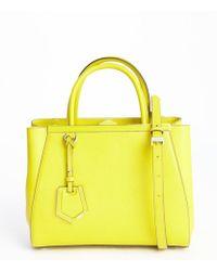 Fendi Yellow Leather 2jours Petite Convertible Top Handle Bag - Lyst