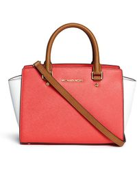 MICHAEL Michael Kors 'Selma' Medium Saffiano Leather Satchel red - Lyst