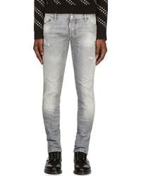 DSquared2 Grey Distressed Slim Jeans - Lyst
